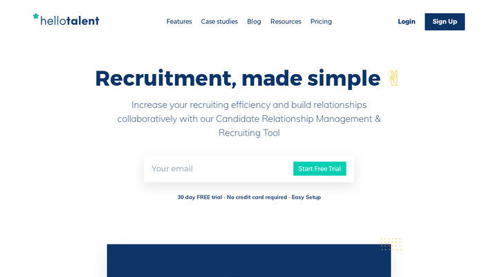 Hello Talent - Candidate Relationship & Recruiting Tool - Increase your recruiting efficiency and save time with Hello Talent.