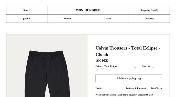 Calvin Trousers - Total Eclipse - Check