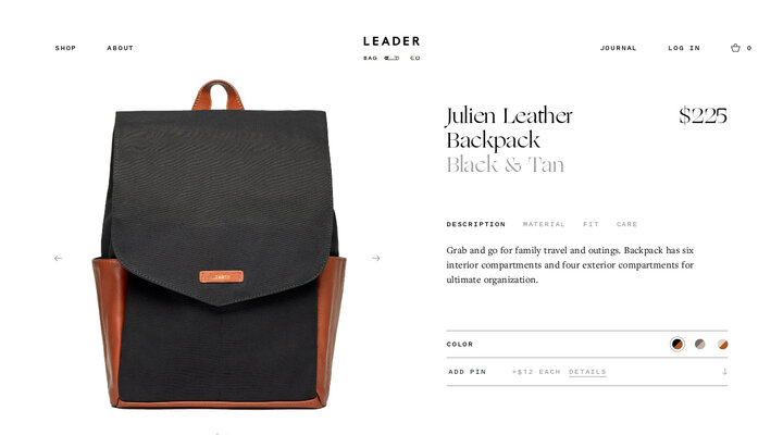 Julien Leather Backpack Black & Tan – Leader Bag Co