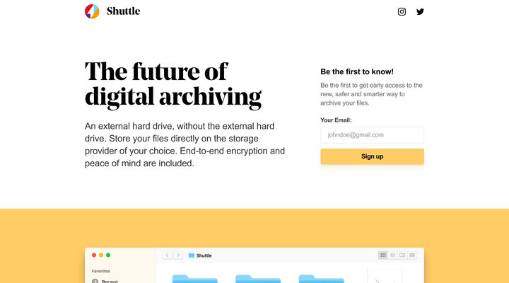 The future of digital archiving — Shuttle