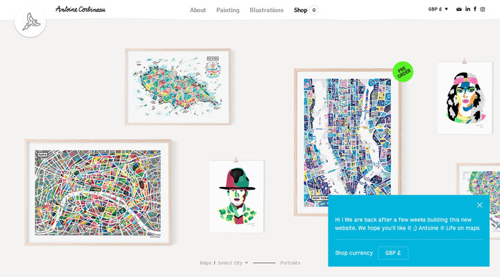 Illustrated maps and portraits by Antoine Corbineau — Life On Maps