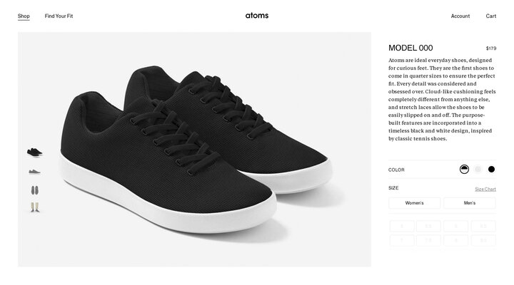 Atoms Shoes Model 000 Black/White. Atoms.com