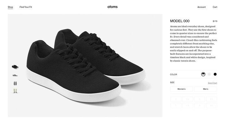Atoms Shoes Model 000 Black/White. Atoms.com